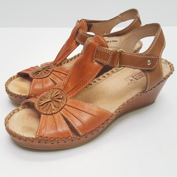 Pikolinos Leather Wedge Margarita Sandals Size 36